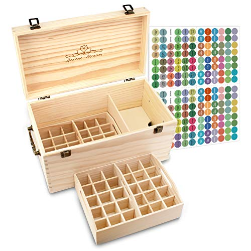 Serene Stream 64-Slot Essential Oil Storage Box - Removable Dividers - 2 Stack-able Inner Trays - Premium Solution Fits 5ml, 10ml, 15ml, 30ml Bottles, Tubes, Accessories and More EO Products ()