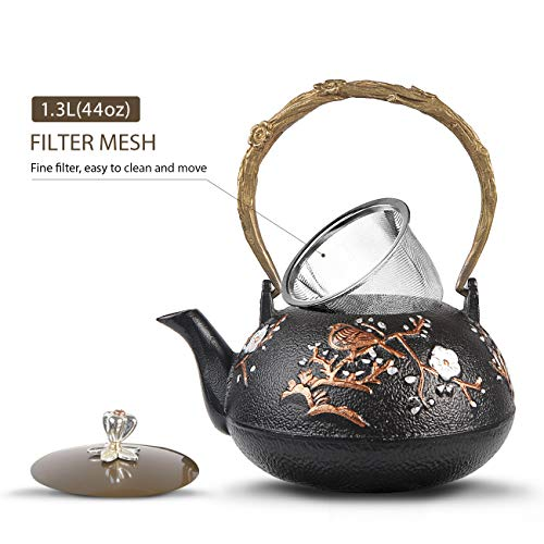 - WICHEMI Cast Iron Teapot Handmade Japanese Tea Kettle Gold Magpie Plum Blossom Pattern with Stainless Steel Infuser and Insulation Handle - Enamel Coated Interior (1300ml/44 Oz)