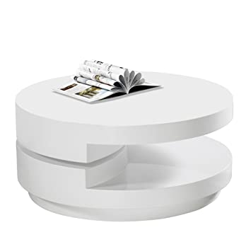 Delightful High Gloss White Modern Swivel Coffee Table
