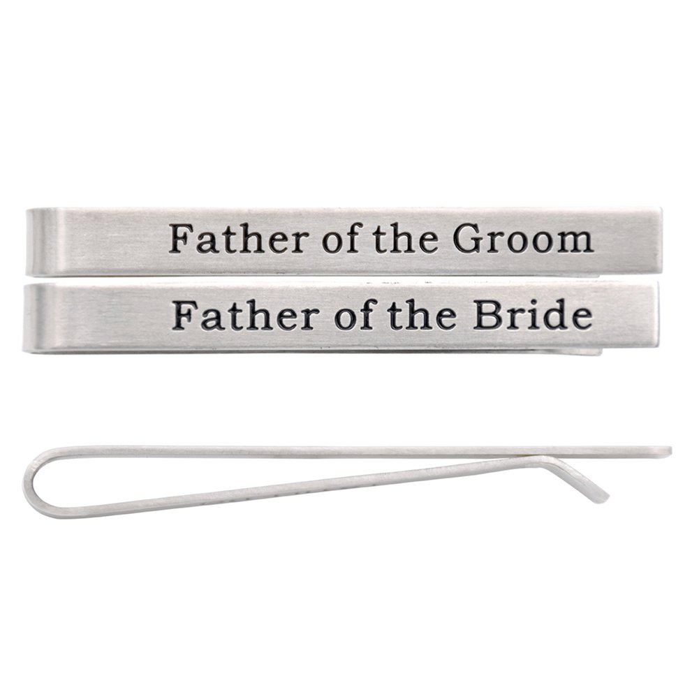 O.RIYA Stainless Steel Tie Clip Wedding Set - Father of the Groom Tie clip - Father of the Bride O.RIYA bride groom (Grey) Bride-Groom
