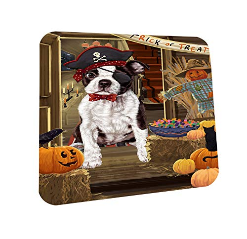 Enter at Own Risk Trick or Treat Halloween Boston Terrier Dog Coasters Set of 4 CST52995