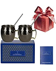 Moscow Mule Mug Set of 2 Black Cup Hammered Handcrafted Stainless Steel 18oz Cocktail Drink