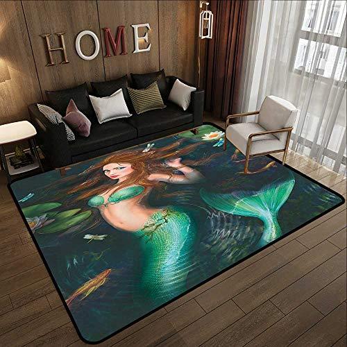 Throw Rugs,Mermaid,Hot Fantasy Mermaid in Lake with Lilies Blossom Magical Plants Big Leaves,Green Aqua Black 47