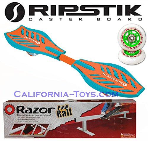 Green/Orange Brights Razor Ripstik Castor Board with PUNK RAIL & Extra Set of 76mm Green RIPSTIK Replacement Wheels