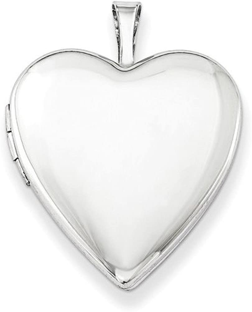 Apples of Gold Polished and Plain Heart Locket Necklace, Sterling Silver