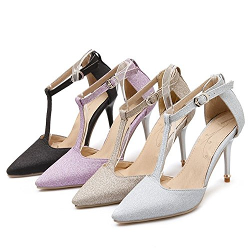 SJJH Elegant Court Shoes with Ankle Strap for Wedding Party and T-Strap with Plus Gold DAtU8