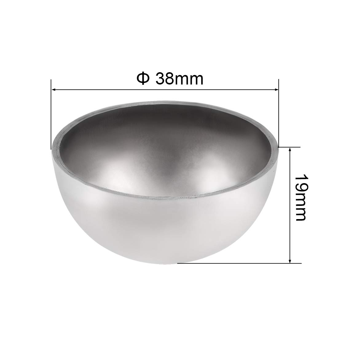uxcell 38mm Dia 304 Stainless Steel Hollow Cap Ball Hemisphere Spheres for Handrail Stair Newel Post 2pcs
