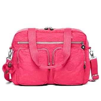 Kipling Women's Sherpa Handbag Nylon Top-Handle Tote - Vibrant Pink