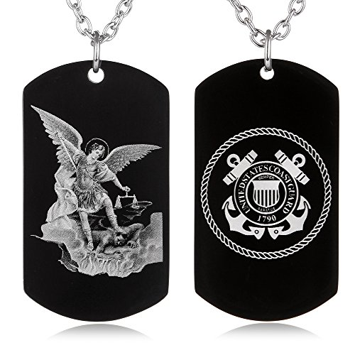 FAYERXL St. Saint Michael Archangel Protection Prayer Marine Corps Air Force Army Navy Coast Guard Dog Tag Necklace Religious Gift (Saint Michael Coast Guard Dog Tag)