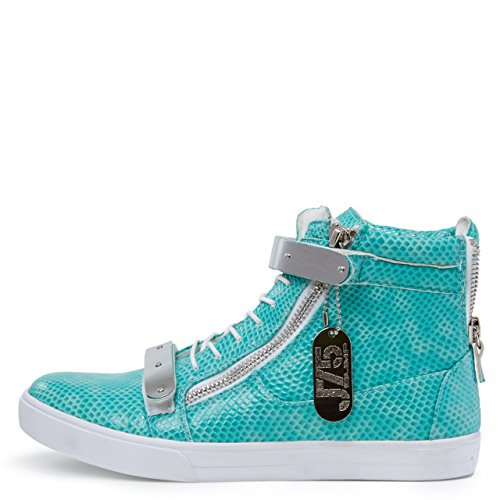 Jump J75 Men's Zion Round Toe Rhinestone Strap Lace-up High-Top Sneaker Aqua buy cheap sale outlet extremely uV7eV1lmft