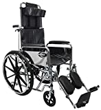 """New Karman KN-880 ( KN-880W-E ) Reclining Wheelchair with Removable Armrest and Elevating Legrest, 20"""" Seat Width"""