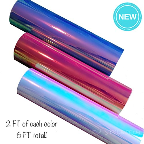 "Opal Holographic Chrome Vinyl Adhesive Sheets | 12"" x 12"", A"