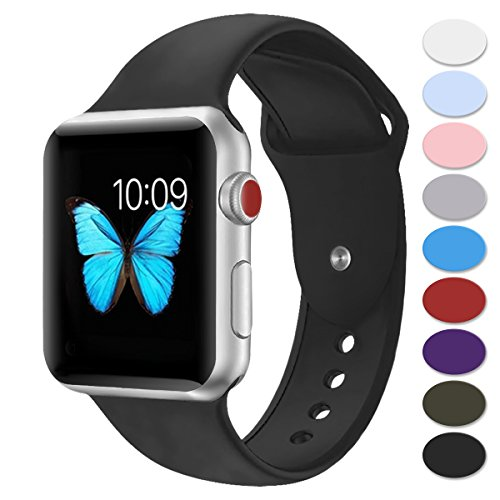 Misker Sport Band Compatible with Apple Watch 42mm 38mm, Soft Silicone Strap Replacement Wristbands Compatible with iwatch Sport Series 3/2/1 Sports and Edition