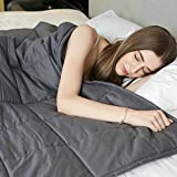 Weighted Idea Cool Weighted Blanket (48''x78'', 20 lbs for 180-220lbs individuals, Grey, Queen Size) for Adult Women and Men - Occupational Therapy for Anxiety, Insomnia, Agitation, Autism, ADHD