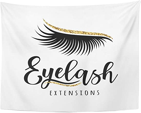 Emvency Wall Tapestry Beautiful Eyelash Extension of Lashes for Beauty Salon Lash Maker Black Christmas December Effect Eye Eyebrow Face Decor Wall Hanging Picnic Bedsheet Blanket 80×60 Inches