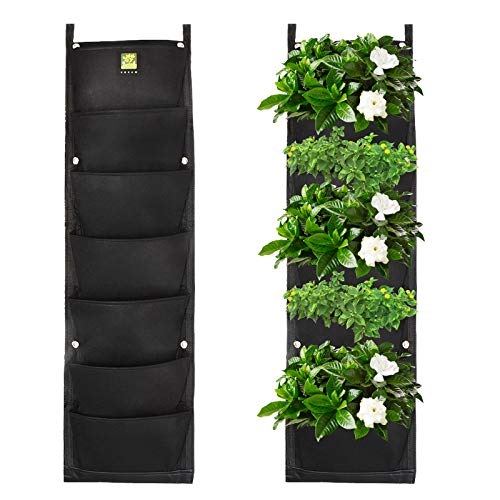 KORAM 7 Pockets Vertical Garden Wall Planter Living Hanging Flower Pouch Green Field Pot Felt Indoor/Outdoor Wall Mount Balcony Plant Grow Bag for Herbs Vegetables and Flowers (10pcs of Plant Tags)
