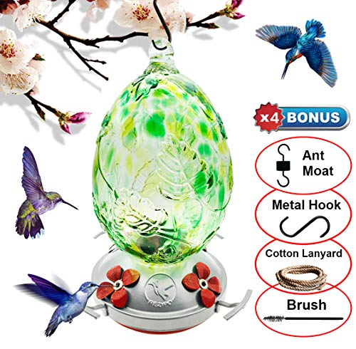 REZIPO Hummingbird Feeder with Perch - Hand Blown Glass - Green - 26 Fluid Ounces Hummingbird Nectar Capacity Include Hanging Wires and Moat Hook
