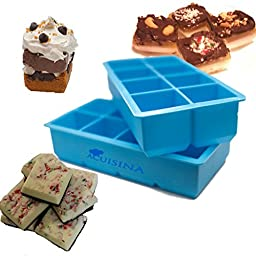 "Extra-Large Silicone Tray, 2"" Slow Melting Ice Cubes By Acuisina - 2 Pack, for Portion Control, Broth Cubes, Wine, Pesto, Baby Food, Ice Pop, Frozen Yogurt, Soap, Chocolate or Cake Mold. Bonus Recipes"
