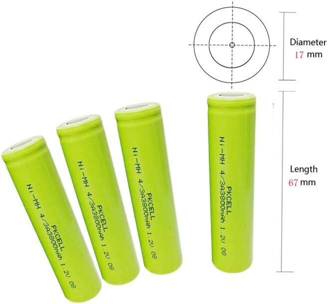 17670 Ni-MH Rechargeable 4/3A 3800mAh 1.2v Batteries with Flat Top Pack of 4pc