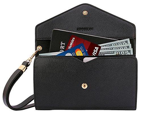 Krosslon Rfid Travel Passport Wallet Holder Tri-fold Document Wristlet Organiser Bag, Black