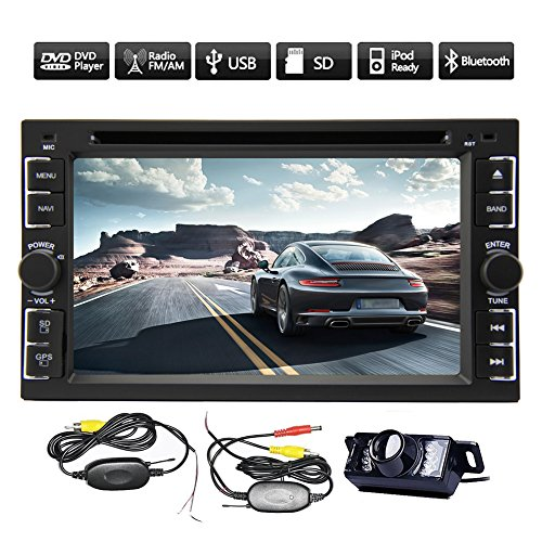 Pupug New Hot Model 6.2-Inch Car DVD Player Double-2 DIN in Dash Car Audio with DVD/CD/MP3/MP4/USB/SD/AMFM/RDS/and GPS Navi Bluetooth Subwoofer HD:800480 +Free Official GPS Map Wireless Rear Camera