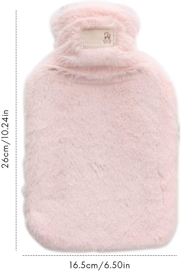 winter soft plush hot water bottle with soft cover Thermal bag Washed water Warm bag for abdominal back and neck BovoYa 1 liter hot water bottle
