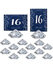 HOHIYA Table Number Holder Place Card Holders Stand Wedding Diamond Acrylic Crystal