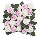 Meiliy-60pcs-Artificial-Flowers-Pink-Ivory-Roses-Real-Looking-Foam-Roses-Bulk-wStem-for-DIY-Wedding-Bouquets-Corsages-Centerpieces-Arrangements-Baby-Shower-Cake-Flower-Decorations