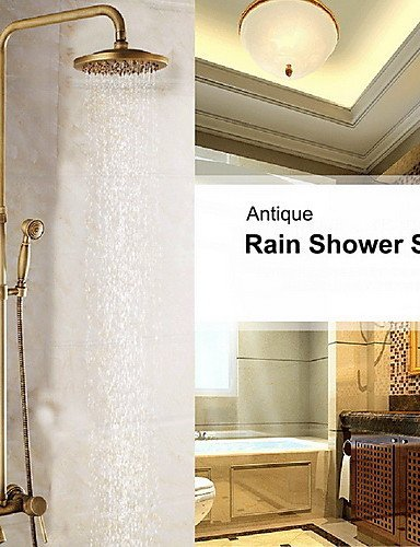 Ling@ Shower Tap 8 Inch Antique Brass In Wall Shower Set with Shower Head and Hand Shower price