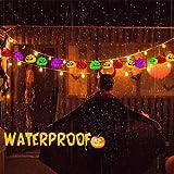 Halloween Pumpkin String Light - Multicolor Pumpkin Lights 20 LED Fairy Lights 8 Modes Battery Operated String Light w/ Remote Timer 17.4 Ft Waterproof Light Halloween decorations Outdoor & Indoor.