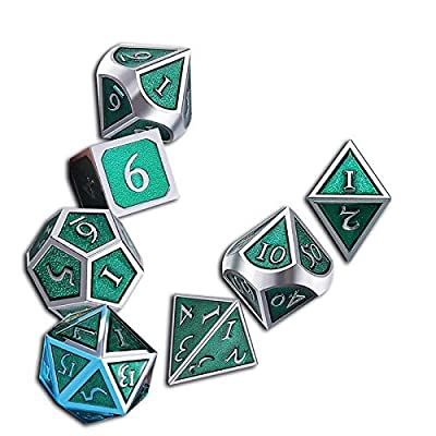UONUOT 7pcs DND Metal Dice Set with Black Pouches D/&D Polyhedral Dice for Dungeons and Dragons Role Playing Dice Games MTG