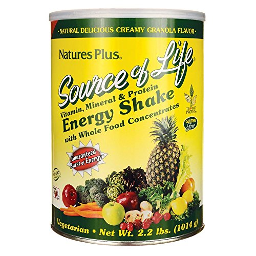 Natures Plus Source of Life Energy Shake - Granola Flavor - 2.2 lbs Multivitamin, Mineral & Protein Powder - Whole Food Meal Replacement - Non GMO, Vegetarian, Gluten Free - 26 Servings
