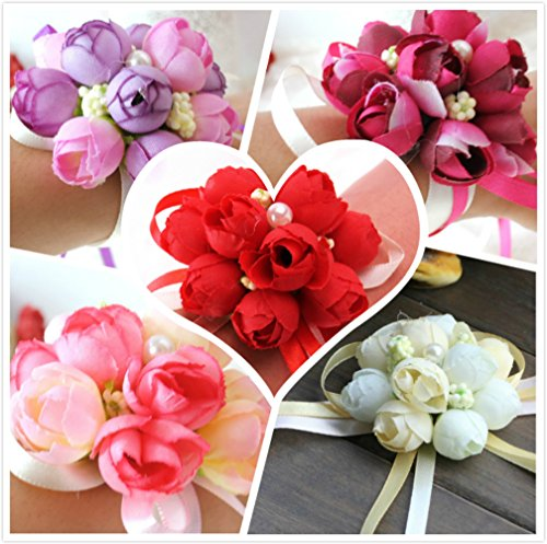 Bridesmaids Wrist Corsages for Wedding Bracelets For Mother of the Bride Groom Flower Girl Prom Ball Homecoming Dance W/ Ribbon/Sash,Pack of 5