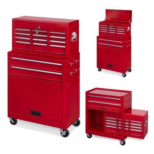 Powerplus Red Locakable 8 Drawer Steel Combination Mechanics Heavy ...