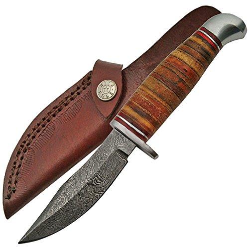 Damascus Stacked Leather Skinner DM1166