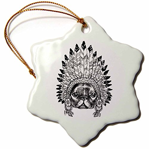 3dRose Sven Herkenrath Animals - Sketch Bulldog With Indian Feather Headdress Black And White - 3 inch Snowflake Porcelain Ornament (orn_262420_1)