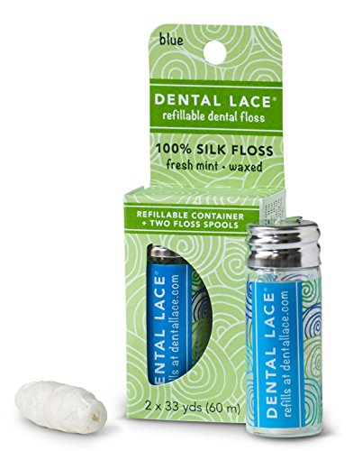 Spool Reusable - Dental Lace| Silk Dental Floss with Natural Mint Flavoring | Includes 1 Refillable Recyclable Blue Dispenser and 2 Floss Spools| 66 yards
