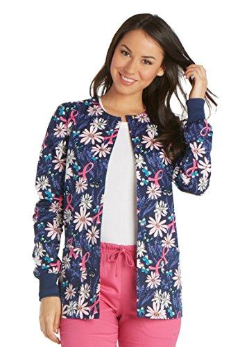 Cherokee Fashion Prints Women's Snap Front Warm Up Frog Print Scrub Jacket Medium ()