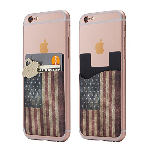 (Two) Dark American Flag cell phone stick on wallet card holder phone pocket for iPhone, Android and all (Flag Phone)