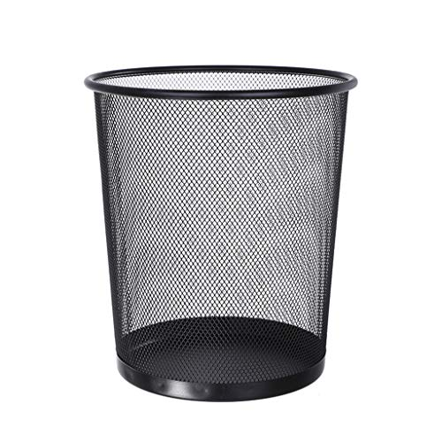 Nesee Round Waste Basket, Mesh Office Desk Trash Cans Wire, Round Trash Can Wrought Iron Kitchen Without Lid Bucket (Black)