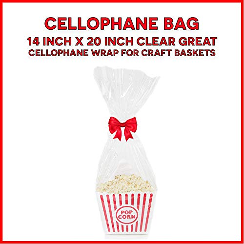 (10 Pack (14x20) Clear Cello Basket Cellophane Bags - Gift Package Flat Gift Bag. )