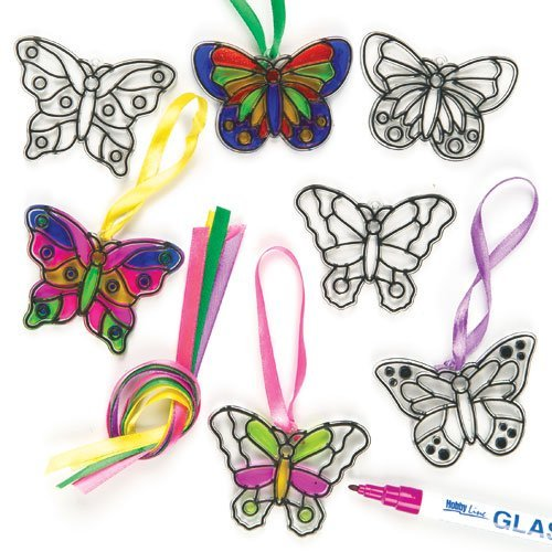 (Baker Ross Butterfly Mini Suncatcher Decorations (Pack of 12) for Kids Arts and Crafts)