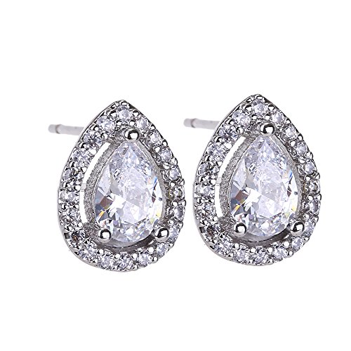 CZ Stud Earrings for Girls - 14k White Gold Teardrop Halo Studs Small Pear Shaped Cubic Zirconia Stud Earrings for Women Brides Bridesmaids Bridal Party (Tiffany Platinum Earrings)