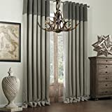 Chadmade HELMUT Faux Bamboo Fiber Insulated Thermal Blackout Pieced Grey Curtain Drapes Panel Grommet - 72Wx84L Inch - (1 Panel) - Multi Size Customizable