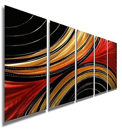 Amazon.com: Gold, Red & Black Contemporary Metal Art - Handpainted ...