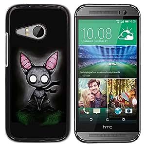 Qstar Arte & diseño plástico duro Fundas Cover Cubre Hard Case Cover para HTC ONE MINI 2 / M8 MINI ( Cat Grey Feline Witch Fairytale Art Big Ears)