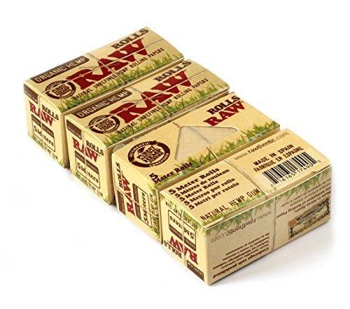 Raw Rolls Organic Hemp Natural Unrefined Rolling Paper 5 Meter ( 15 Feet ) 4 Pack (Cigarette Paper Roll Rolling)