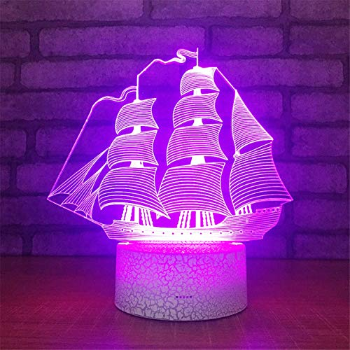 USB Powered Stunning Sailboat 7 Colors Changing Optical Illusion Night Light Crackle Paint Base 3D Glow LED Touch Table Desk Lamps Art Sculpture Beside Lights Toy for Kids Gifts