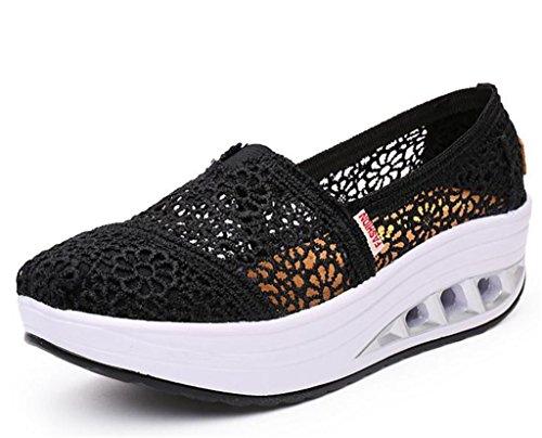 Lisyline Women's Mesh Shape Ups Slip-on Toning Shoes Crochet Fitness Work Out Walking Sneaker