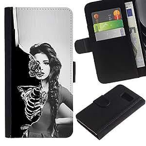 NEECELL GIFT forCITY // Billetera de cuero Caso Cubierta de protección Carcasa / Leather Wallet Case for Sony Xperia Z3 Compact // Cráneo Esqueleto Sexy Girl